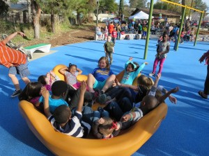 New playground has fun filled elements that kids love!